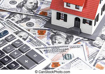 gros plan, maison, notes, dollar, modèle, calculatrice