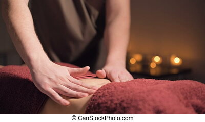 gros plan, masage, élite, salle, utile, field., peu profond...