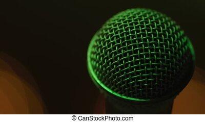 gros plan, microphone, vert, effet, lumière