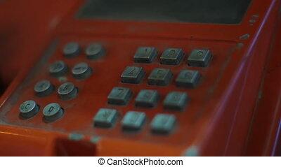 gros plan, nombre, téléphone téléphonant, cabine, public
