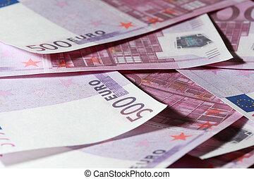 gros plan, notes, paquet argent, 500, beaucoup, euro, banque, européen