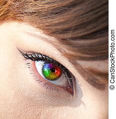 gros plan, oeil femme, coloré