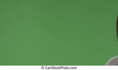 gros plan, ok, projection, contre, main, vert, femme, signe, écran