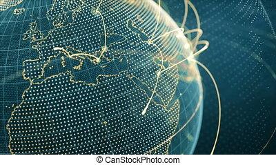 gros plan, particule, croissant, orange, réseau, boucle, -, global, mondiale