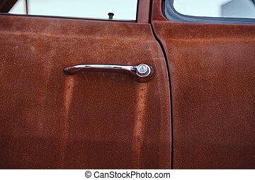 gros plan, photo, door., retro, voiture, restauré