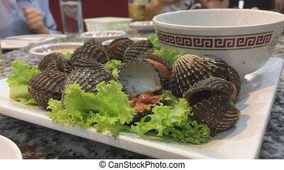 gros plan, plaque, fruits mer, coque, cuit, grillé, ou