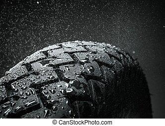 gros plan, pneu, motocyclette, classique, coup, pas