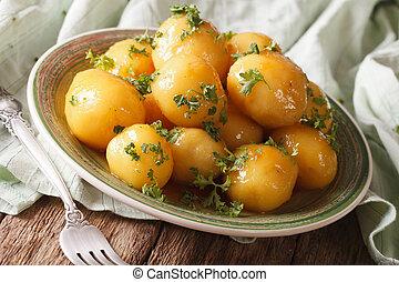 gros plan, pommes terre, persil, nouveau, vitré, horizontal...