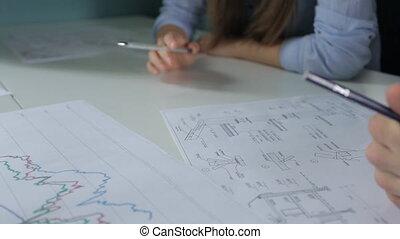 gros plan, projection, decreasing., graphiques, indicateurs, augmenter, vue
