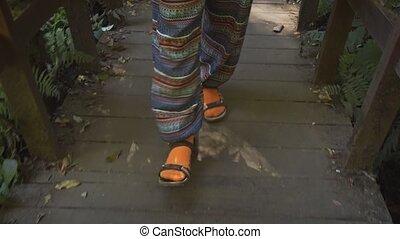 gros plan, promenade, vue, womans, pied, surface, bois