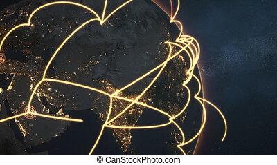 gros plan, réseau, global, -, version, nuit, orange, la terre, boucle