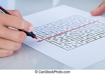 gros plan, résoudre, puzzle, main