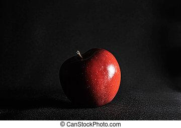 gros plan, rouge noir, pomme, arrière-plan.