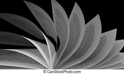 gros plan, roulé, arrière-plan., papier, noir, loopable., feuilles
