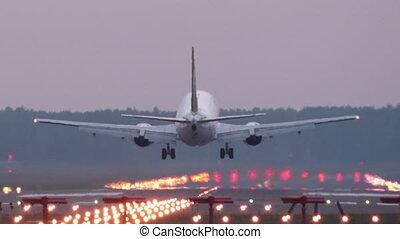 gros plan, -, runway., atterrissage, aéroport, avion, hd
