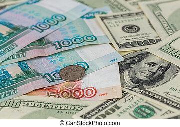gros plan, sélectif, russe, dollar, rubl, nous, fond, foyer