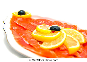 gros plan, saumon fumé
