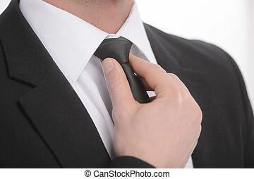 gros plan, sien, necktie., cravate, ajustement, homme affaires