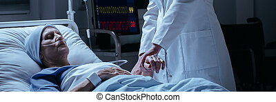 gros plan, sien, patient, cancer, mort, docteur, vérification, hôpital, pouls