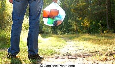 gros plan, sien, stands, déchets, paquet, nature, clairière...