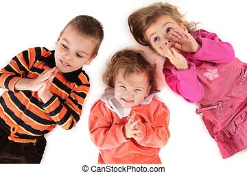 gros plan, sommet, trois enfants, mensonge, vue