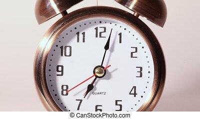 gros plan, sonner, horloge, reveil, métal, vue