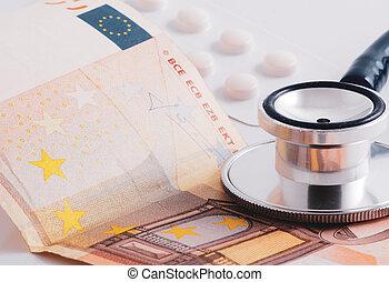 gros plan, stéthoscope, protection, currencies., monde médical, papier, insurance.