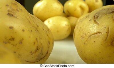gros plan, table, detailed., pommes terre, lotissements, extrême, blanc