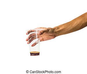 gros plan, tenue, liquide, verre, objet, isolé, contre, plastique, arrière-plan., attachant voie accès, blanc, main