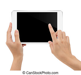 gros plan, tenue, tablette, intérieur, isolé, main, coupure, fond, sentier, blanc
