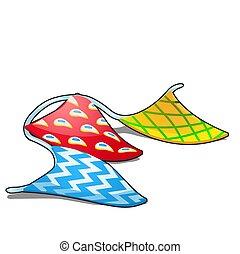 gros plan, triangle, illustration., peu, bigarré, papiers, isolé, corde, arrière-plan., vecteur, drapeaux, pendre, blanc, dessin animé