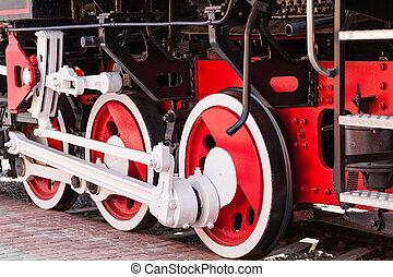gros plan, vapeur, vendange, train