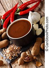 gros plan, vertical, ingrédients, sauce, entouré, bol, fait maison, tamarin, table.