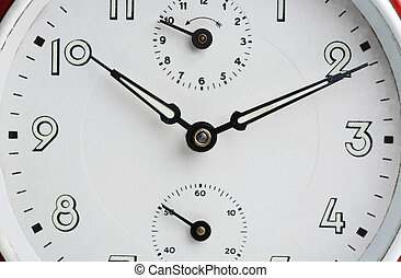 gros plan, vieux, horloge, face., reveil, analogue
