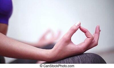 gros plan, zen, mains, lotus, pose., jnana, mudra, yoga, ...