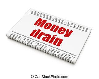 gros titre journal, drain, concept:, argent