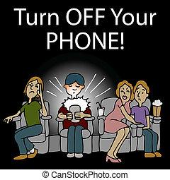 grosero, hombre, texting, en, un, cine