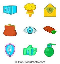 Gross carelessness icons set, cartoon style - Gross...