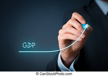 Gross Domestic Product (GDP) improvement concept. Businessman draw accelerating line of growing gdp.