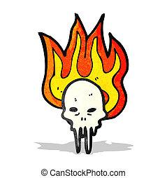 gross flaming skull cartoon