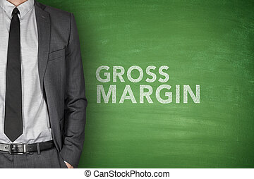 Gross margin text on blackboard - Gross margin text on green...