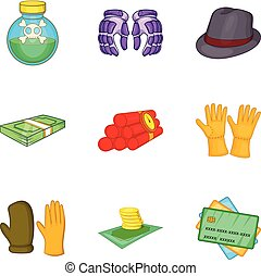 Gross negligence icons set, cartoon style - Gross negligence...
