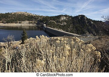 Gross Water Reservoir with Dam in Colorado, USA. Central...