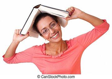 grossas, livro, estudante