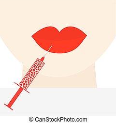 grossas, rosto, siringa, injeção, modelo, apartamento, pescoço, cirurgia, tratamento, botox, desenho, vermelho, grande, mulher, plástico, beleza, lábios, corações, conceito