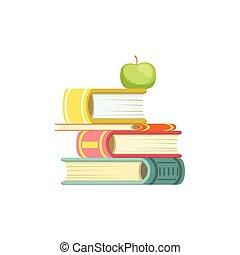 grossas, topo, livros, pilha, maçã