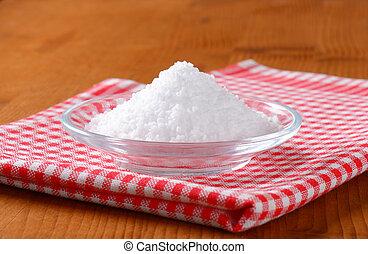 grosseiro, grained, comestível, sal