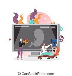 grossesse, bannière, vecteur, page, toile, concept, site web