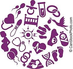 grossesse, cercle, icônes