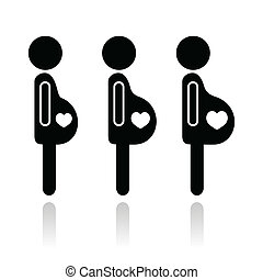 grossesse, femme, étapes, icônes